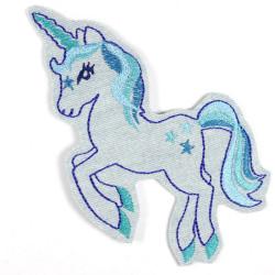 large unicorn iron on patch light blue jeans denim applique blue embroidery