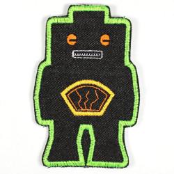 Flicken Roboter Bügelbild schwarz grün Knieflicken Aufbügler Bügelflicken patch