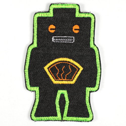 iron-on-patch! robot black green robots badges applique for kids