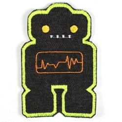 Bügelflicken Roboter Flicken schwarz gelb Aufbügler Patch Bügelbilder für Jungs