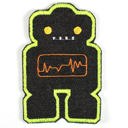 iron-on-patch flickli! robot black yellow badges robots applique for kids