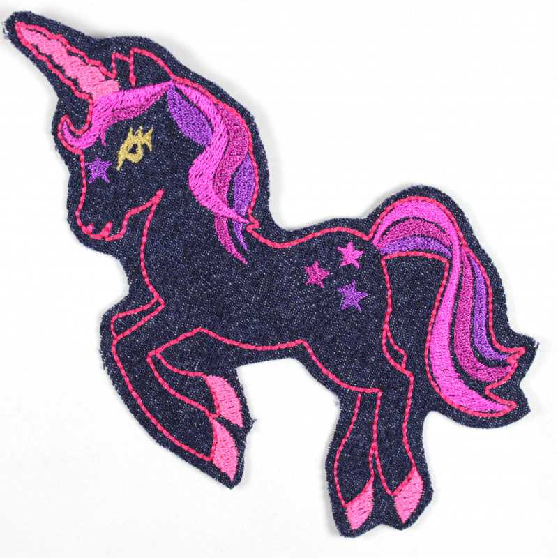 iron on patches unicorn extra large blue purple pink denim jeans applique