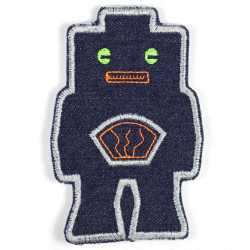 Patch robot blue neon green eyes made of tear-resistant denim and ideal as knee patches