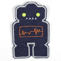 Flicken Roboter Aufbügler blau gelbe Augen Bügelbild Jeans Bügelflicken Patch