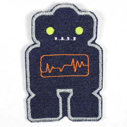 Iron-on patches Robot jeans blue neon yellow eyes iron-on large