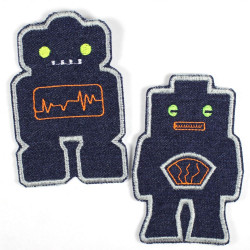 2 robot appliques large iron on patches denim textile repair patches for kids