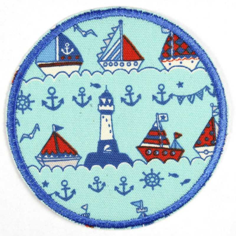 Patch around ships on light blue, tear-proof and ideal as a knee patch