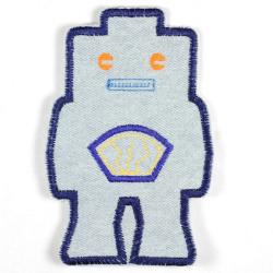 Bügelflicken Roboter hellblau Jeans Flicken orange Augen Bügelbild Aufbügler