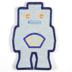 iron-on-patch! robot lightblue orange eyes badges space denim applique