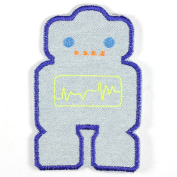 iron-on-patch flickli! robot lightblue blue eyes jeans badges applique for boys