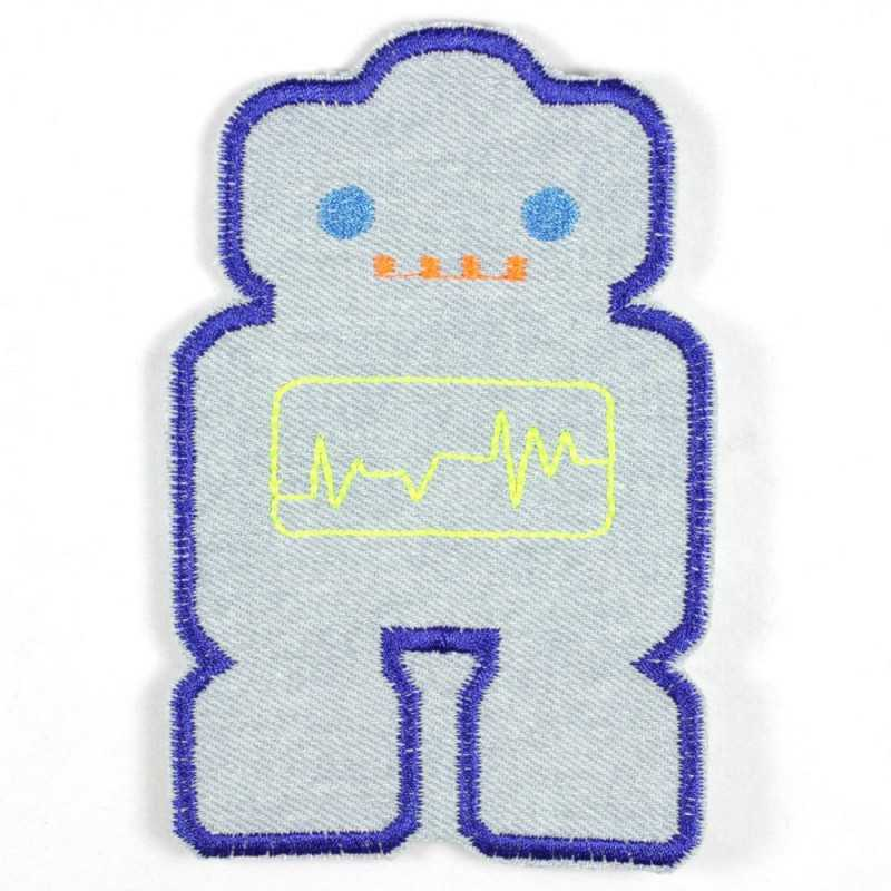 robot iron on patch large applique for kids light blue