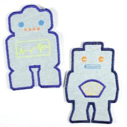 2 light blue robot appliques denim jeans repair patches for kids large size