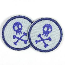 Aufbügler Flicken rund skull hellblau dunkelblau Set 2 Hosenflicken Piraten