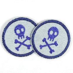 Patches round with skull pirate blue on jeans light blue 2 pieces ideal as trouser patches and knee patches