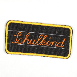 "Flickli - the patch! ""Schulkind"" school child orange black"