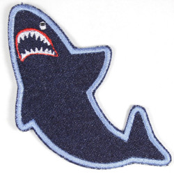 Patch shark blue made of tear-resistant denim and ideal as knee patches
