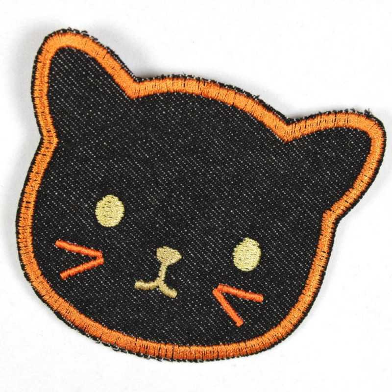 Patch black cat made of tear-resistant denim and ideal as knee patches