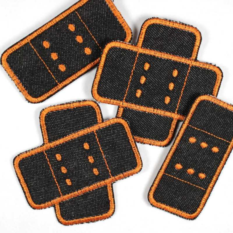Set of 4 iron on patches plaster black band aids orange trim