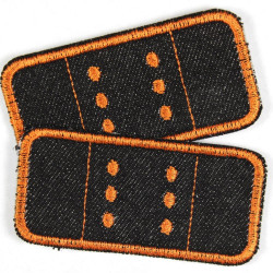 2 black iron on patches plaster appliques orange trim appliques