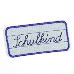 "Flickli - the patch! ""Schulkind"" school child lightblue blue"