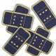 4 Bügelflicken Pflaster Jeans blau Flicken zum aufbügeln gestickt gold robuste Aufbügler Vorteilspack