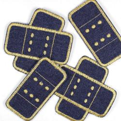 Flickli Pflaster Set 4 Stück Jeans blau