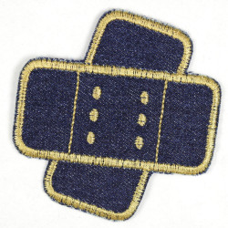 4 iron-on patches denim plaster embroidered blue jeans gold yarn discount pack