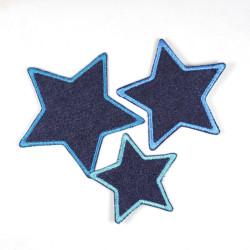 Flickli Set Sterne 3 Stück auf blue Jeans blau gefasst