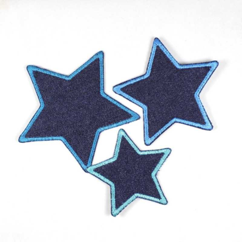 Set with three iron-on patches, dark blue jeans in star shape with blue edging, 7 cm, 8 cm and 10 cm, suitable as knee patches