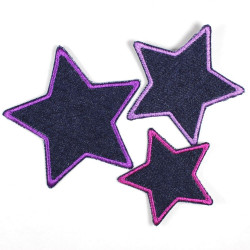 Set with three iron-on patches, jeans in a star shape with purple an violet edging, 7 cm, 8 cm and 10 cm
