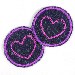 2 iron on patches blue jeans with purple pink hearts small appliques