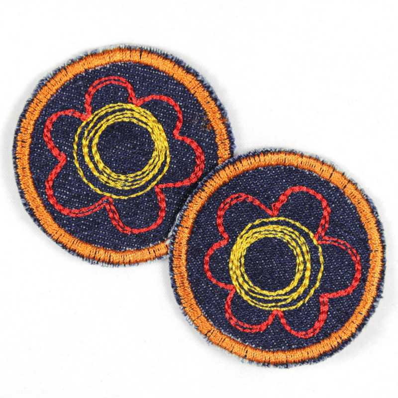 2 Patches round with flower red and yellow on jeans dark blue ideal as trousers and knee patches