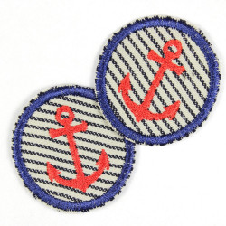 2 Patches round with anchor red on jeans light blue with blue stripes tearproof and ideal as a knee patch