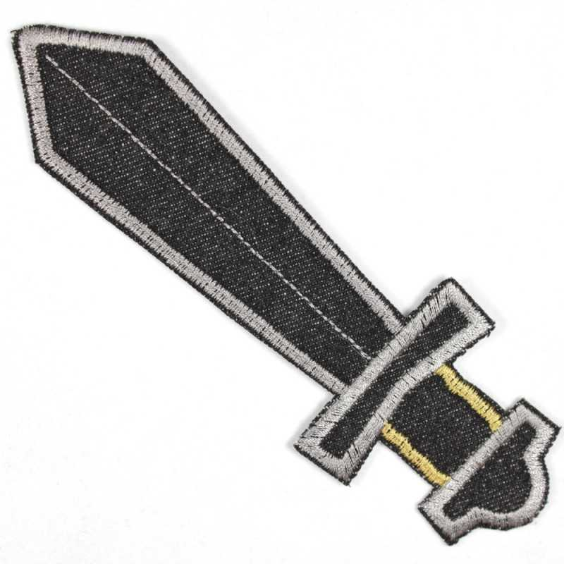 Patch sword large black, tear-resistant and ideally suited as a knee patch