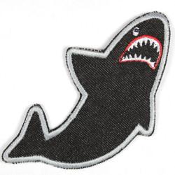 Aufbügler Hai schwarz Jeans Bügelbild Aufnäher zum aufbügeln als Applikation