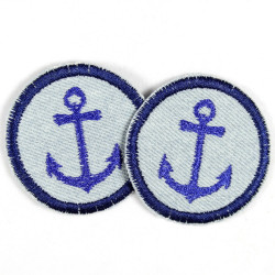 Flickli - the patch! round with anchor on  jeans with stripes set with 2 items
