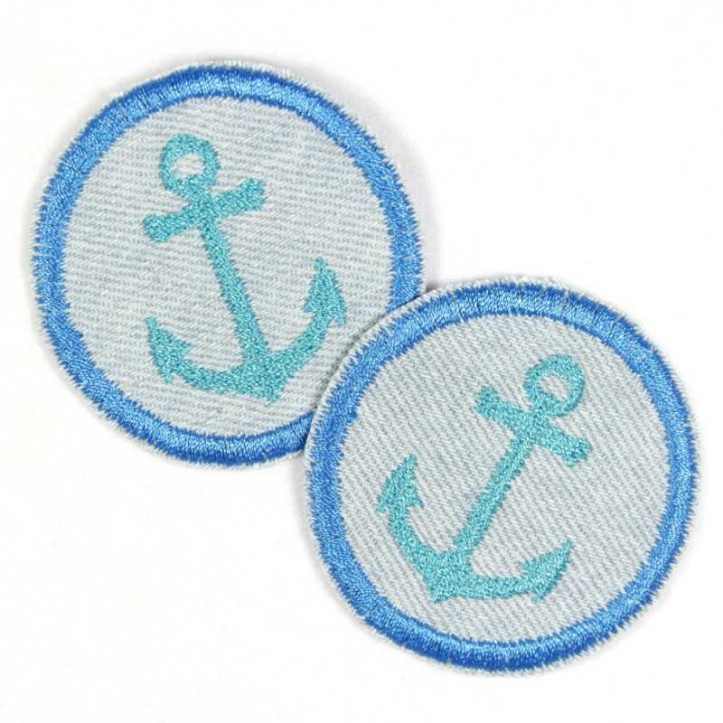 Flickli - the patch! round with turquoise anchor on  jeans lightblue set with 2 items