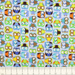 timeless treasures fabrics colored owls on turquoise