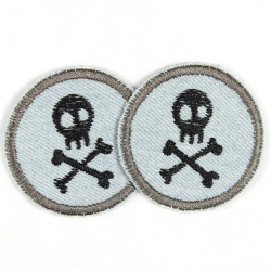 Patches round with skull pirate black on jeans light blue 2 pieces ideal as trouser patches and knee patches