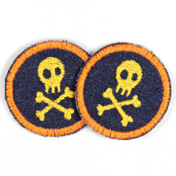 Flickli - the patch! round with skull blue neonorange
