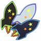Flickli - the patch! rocket black denim