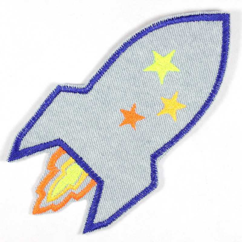 Patch rocket light blue neon made of tear-resistant denim and ideal as knee patches