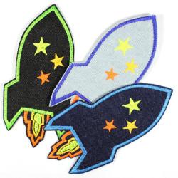 Flickli - the patch! rocket lightblue denim
