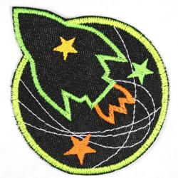 Flickli Rakete und Planet schwarz neon