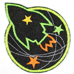 Flickli - the patch! rocket and planet black denim