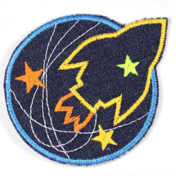 iron-on patches rocket and planet blue denim embroidered applique