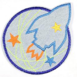 Flickli Rakete und Planet hellblau neon