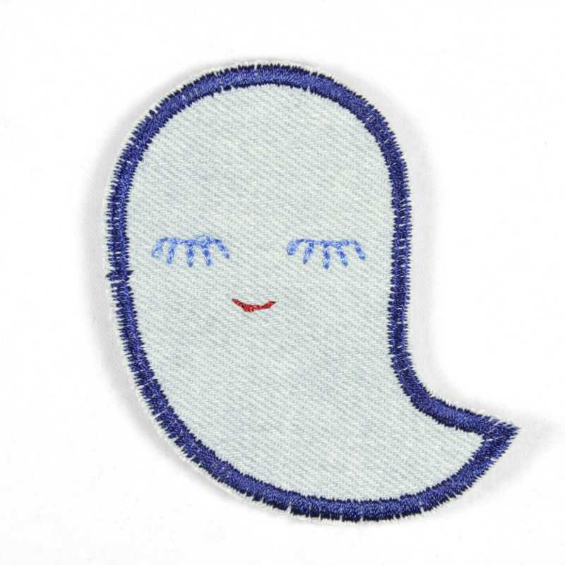 Iron-on patch ghost light blue with closed eyes