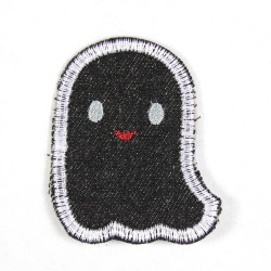 Iron-on patch ghost black with eyes open