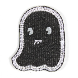 Iron-on patch ghost black with bared teeth